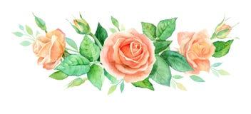 Aquarellblumenstrauß von Blumen Handgemalte Blumenzusammensetzung lokalisiert auf weißem Hintergrund Abbildung der roten Lilie Stockbilder