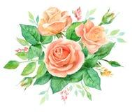 Aquarellblumenstrauß von Blumen Handgemalte Blumenzusammensetzung lokalisiert auf weißem Hintergrund Abbildung der roten Lilie Stockfotos