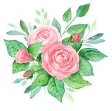 Aquarellblumenstrauß von Blumen Handgemalte Blumenzusammensetzung lokalisiert auf weißem Hintergrund Abbildung der roten Lilie Lizenzfreies Stockbild