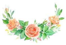Aquarellblumenstrauß von Blumen Handgemalte Blumenzusammensetzung lokalisiert auf weißem Hintergrund Abbildung der roten Lilie Lizenzfreie Stockfotografie