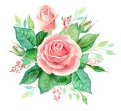 Aquarellblumenstrauß von Blumen Handgemalte Blumenzusammensetzung lokalisiert auf weißem Hintergrund Abbildung der roten Lilie Lizenzfreie Stockbilder