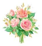 Aquarellblumenstrauß von Blumen Handgemalte Blumenzusammensetzung lokalisiert auf weißem Hintergrund Abbildung der roten Lilie Lizenzfreies Stockfoto