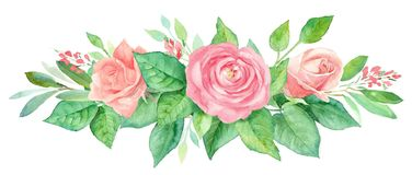 Aquarellblumenstrauß von Blumen Handgemalte Blumenzusammensetzung lokalisiert auf weißem Hintergrund Abbildung der roten Lilie Stockfotografie