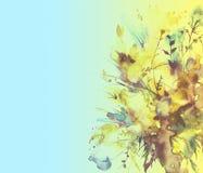 Aquarellblumenstrauß von Blumen, schönes abstraktes Spritzen der Farbe, Modeillustration Orchideenblumen, Mohnblume, Kornblume, g stock abbildung