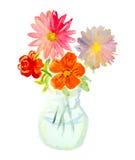Aquarellblumenstrauß von bunten Blumen im Glasvase Stockfoto
