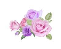 Aquarellblumenstrauß von Rosen und von lisianthus Lizenzfreie Stockfotografie
