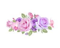 Aquarellblumenstrauß von Rosen, von lisianthus und von Orchideen Stockfotos