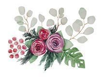 Aquarellblumenstrauß von Shimadaijin-Pfingstrosen, stock abbildung