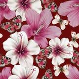Aquarellblumenstrau? mit Blumen und Schmetterlingen hibiscus Abbildung stockbild