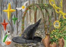 Aquarellcollage mit Hexenhut lizenzfreie abbildung