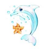 Aquarelldelphin Stockfoto