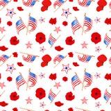 Aquarelle 4ème de modèle sans couture de juillet dans des couleurs rouges, bleues et blanches de drapeau des USA Symboles de Trad illustration libre de droits