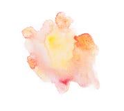 Aquarelle abstraite colorée jaune d'aspiration de main Photo libre de droits