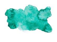 Aquarelle abstraite colorée vert-bleu d'aspiration de main Photographie stock libre de droits