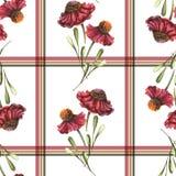 Aquarelle Autumn Paterrn intelligent avec les fleurs et les feuilles rouges de Helenium illustration libre de droits