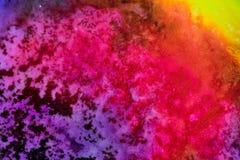 Aquarelle avec l'éclaboussure de galaxie d'arc-en-ciel images stock