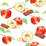 Aquarelle avec les pommes et la cannelle rouges. Photo stock