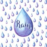 Aquarelle background with raindrops. Watercolor autumn illustration Royalty Free Stock Images