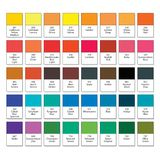 Aquarelle basic palette, set N°40. Main watercolor essential pigment samples with catalogue swatch numbers and names. Aquarelle basic palette, Artistic paint vector illustration