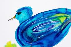 Aquarelle bleue d'oiseau Photographie stock libre de droits