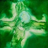 Aquarelle carrée avec une croix verte et blanche Image libre de droits