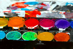 Aquarelle collors. Watercolor tray Stock Photos