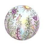 Aquarelle colorée de mandala avec des oiseaux et des fleurs Images libres de droits