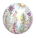 Aquarelle colorée de mandala avec des oiseaux et des fleurs Image libre de droits
