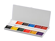Aquarelle colors in a plastic box Stock Photography