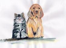 Aquarelle d'amis de chien et de chat Images libres de droits