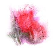 Aquarelle d'art rouge, goutte à l'encre noire de peinture Photo stock