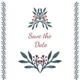 Aquarelle d'invitation Sauvez la carte de date avec les fleurs, le coeur et les feuilles Beau fond floral avec le texte et le DES Image stock