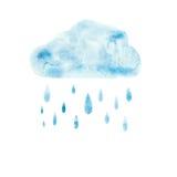 Aquarelle de bleu de peinture d'art d'aquarelle d'aspiration de main illustration libre de droits