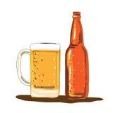 Aquarelle de bouteille et de tasse à bière de métier Images stock