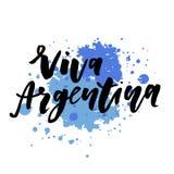 Aquarelle de calligraphie de lettrage de drapeau de vecteur d'expression de Jour de la Déclaration d'Indépendance de Viva Argenti Photos stock