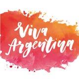 Aquarelle de calligraphie de lettrage de drapeau de vecteur d'expression de Jour de la Déclaration d'Indépendance de Viva Argenti illustration stock