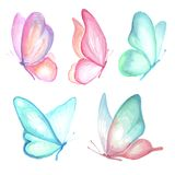 Aquarelle de collection des papillons de vol Illustration Stock