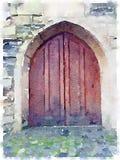 Aquarelle de Digital d'une vieille porte en bois de cathédrale Photographie stock libre de droits