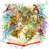 Aquarelle de dinosaure Dinosaure, fond exotique tropical de forêt, livre, dinosaure d'illustration
