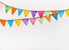 Aquarelle de fête de drapeaux de couleur Image libre de droits