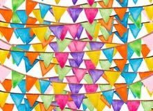 Aquarelle de fête de drapeaux de couleur Images libres de droits