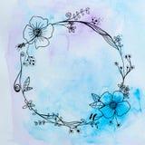 Aquarelle de fleur et d'arc-en-ciel de dessin Photos stock