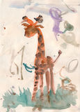 Aquarelle de giraffein de bébé Image libre de droits