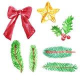 Aquarelle de Noël et de nouvelle année réglée avec les branches d'arbre impeccables de sapin, ruban, étoile d'arbre de Noël, houx illustration libre de droits