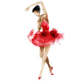 Aquarelle de photo lumineuse de ballerine de danse belle Images stock