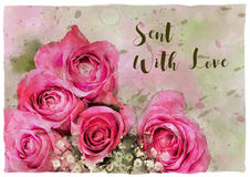 Aquarelle de roses envoyée avec la carte d'amour Photos stock