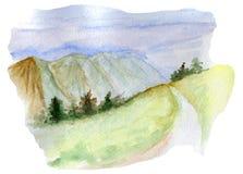 Aquarelle de route de montagnes Image libre de droits