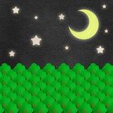 Aquarelle de scène de nuit de forêt sur le papier Image stock