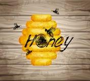 Aquarelle de texture de bonne qualité, icônes uly, abeilles d'encre, lettrage de main Texture de la meilleure qualité en bois de  illustration libre de droits
