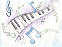 Aquarelle des clés et des notes de piano Images stock